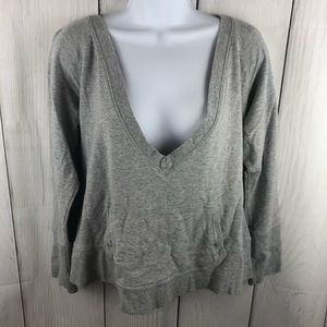 Talbots Deep V-neck gray sweatshirt M